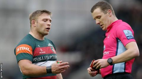 Tom Youngs of Leicester Tigers is sent off against Exeter