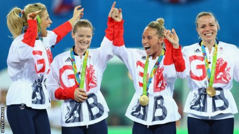 Great Britain celebrate their hockey gold at the Rio 2016 Olympics