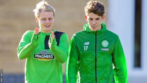 Celtic pair Gary Mackay-Steven and Ryan Christie in training