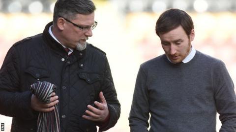Hearts director of football Craig Levein talks with head coach Ian Cathro