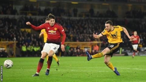 Diogo Jota scores Wolves' second goal against Manchester United