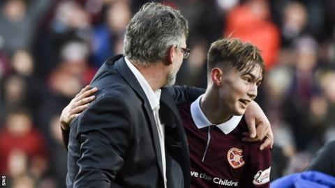 Hearts manager Craig Levein and Harry Cochrane