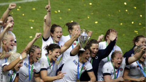 England players celebrate after their 2014 Women's World Cup triumph