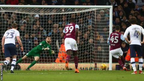 Lewis Grabban scores a penalty for Aston Villa