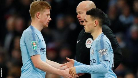 Kevin de Bruyne was replaced by Phil Foden against Burton Albion