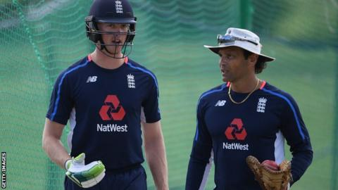 England batting coach Mark Ramprakash and batsman Keaton Jennings
