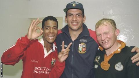 Jeremy Guscott, Martin Johnson and Neil Jenkins