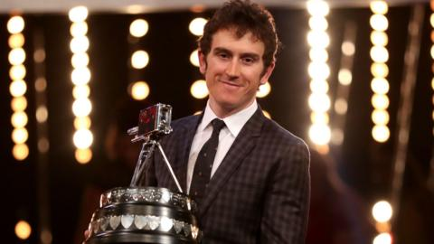 Geraint Thomas with his SPOTY trophy
