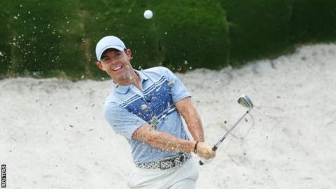 Rory McIlroy playing out of a bunker