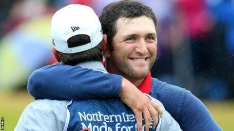 Jon Rahm celebrates his Irish Open victory at Portstewart in 2017