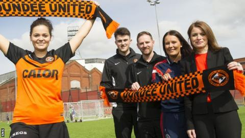 Dundee United player Steph Thompson, John Souttar, Dundee United Community Manager Gordon Grady, Scottish FA Development Officer Sam Milne and Director Justine Mitchell attend the GA Engineering Arena in connection with the launch of the Dundee United FC Women's Football Team