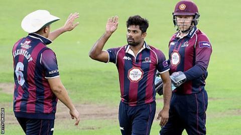 Seekkuge Prasanna celebrates wicket for Northants Steelbacks