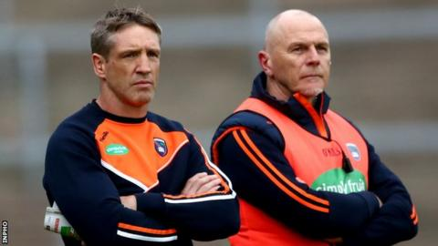 Armagh manager Kieran McGeeney (left) with assistant Jim McCorry