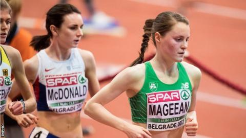 Ciara Mageean in action at last year's European Indoor Championships in Belgrade