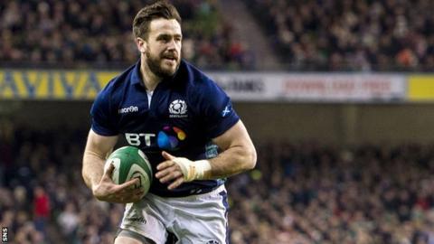 Alex Dunbar scores a try for Scotland against Ireland