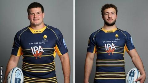 Worcester prop Ryan Bower (left) and flanker Zac Xiourouppa were both injured in the defeat at Saracens