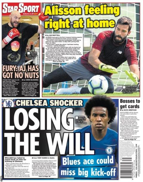 Picture of the Star back page on Wednesday