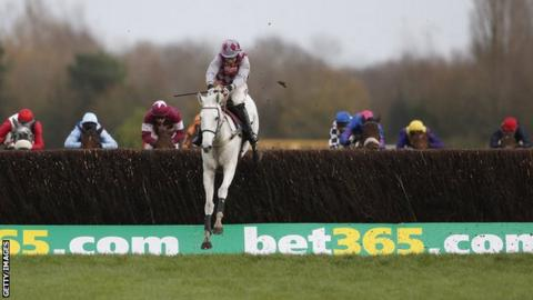Smad Place, ridden by Wayne Hutchinson, romping to victory at the Hennessy Gold Cup