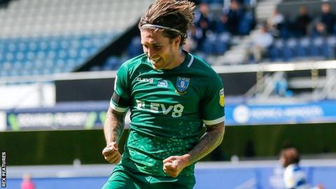 Josh Windass celebrates Sheffield Wednesday's second goal