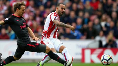 Jese Rodriguez puts Stoke ahead against Arsenal