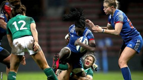 Ireland wing Megan Williams tries to halt France's Coumba Diallo in last weekend's Six Nations