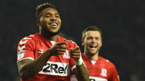 Britt Assombalonga celebrates Boro's second