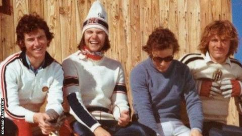 Stuart Fitzsimmons (far left) with fellow skiers