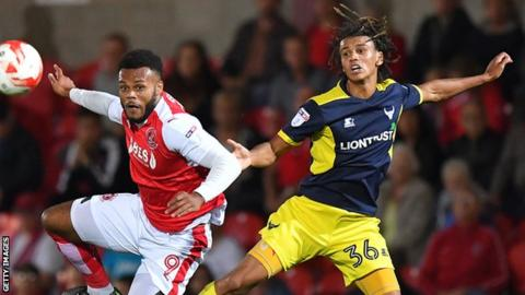 Miles Welch-Hayes (right) in action for Oxford United