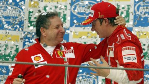 Jean Todt and Kimi Raikkonen celebrate winning the 2007 World Championship