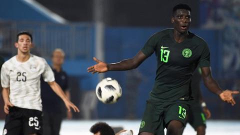 Nigeria's Paul Onuachu in action against Egypt