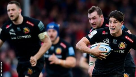 Exeter Chiefs hold a five-point lead at the top of the Premiership