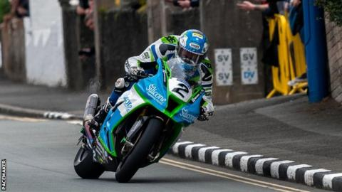 Dean Harrison on his way to victory in the Senior TT