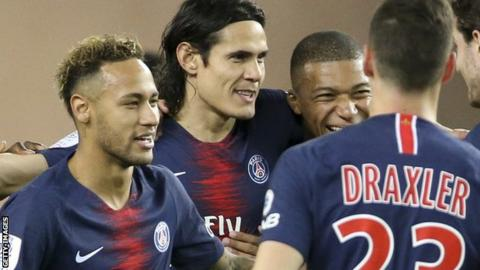 Paris St-Germain forwards Neymar (left), Edinson Cavani (centre) and Kylian Mbappe with Julian Draxler