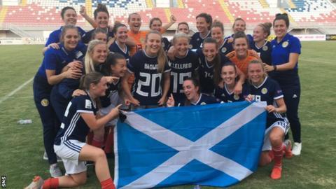 Scotland's squad celebrate