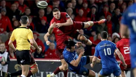 James Lowe got a red card for his challenge on Munster wing Andrew Conway