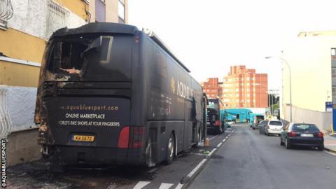 Aqua Blue Sport team bus
