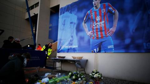 Tributes to Emiliano Sala outside Caen's Stadium