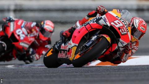 Marc Marquez leads from Andrea Dovizioso
