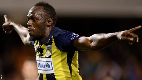 Usain Bolt celebrates scoring for Central Coast Mariners