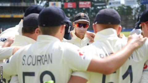England Test captain Joe Root speaks to his players