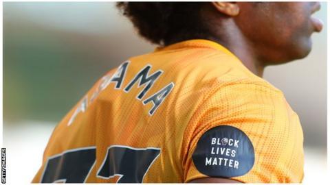 The Black Lives Matter logo on a Premier League shirt