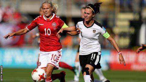 Viktoria Schnaderbeck (right) in action against Denmark at Euro 2017