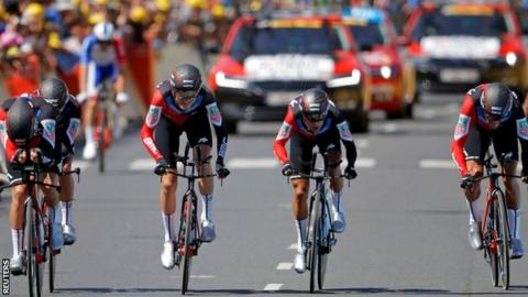 The BMC racing team produced a superb team time trial to claim stage three