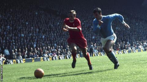 Glyn Pardoe playing against Liverpool at Anfield in 1968