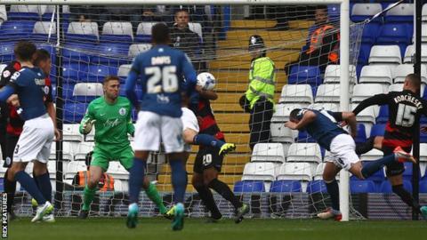 Paul Robinson heads Birmingham's first-half equaliser against QPR