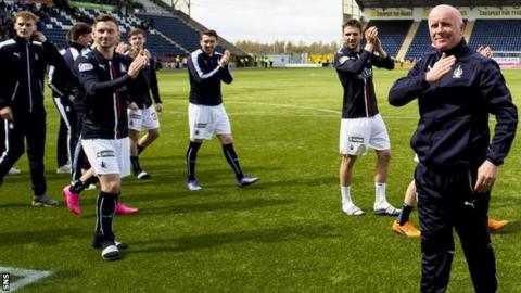 Falkirk players with their manager, Peter Houston