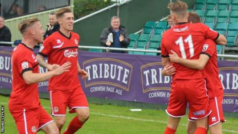 Truro City celebrate Connor Riley-Lowe's opening goal