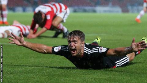 Nottingham Forest's Jamie Ward celebrates his winner against Doncaster