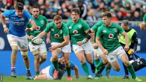 Jordan Larmour makes a break for Ireland
