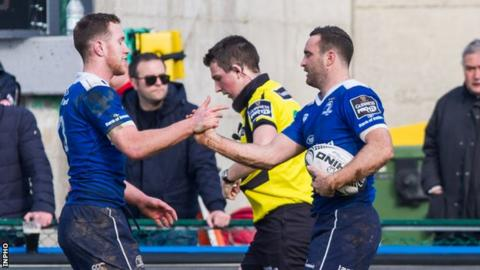 Leinster try-scorers Rory O'Loughlin and Dave Kearney celebrate